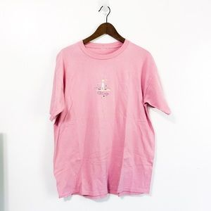 Vintage Pink Crewneck Chicago Embroidered Tshirt